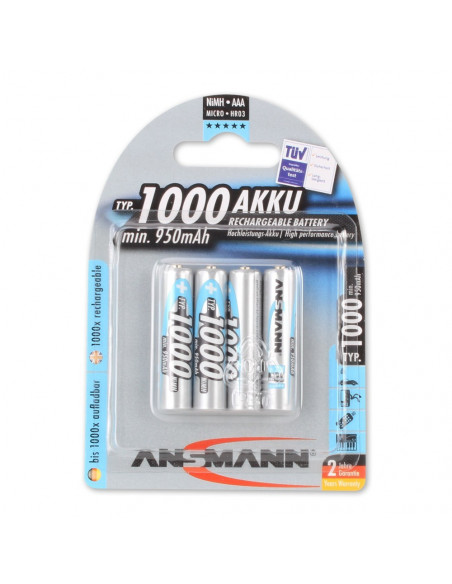 Set of 4 rechargeable batteries AAA LR03 ANSMANN 1000mAh
