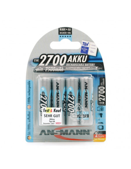 Lot de 4 batteries (accumulateurs) rechargeables AA LR06 2700 mAh Ansmann