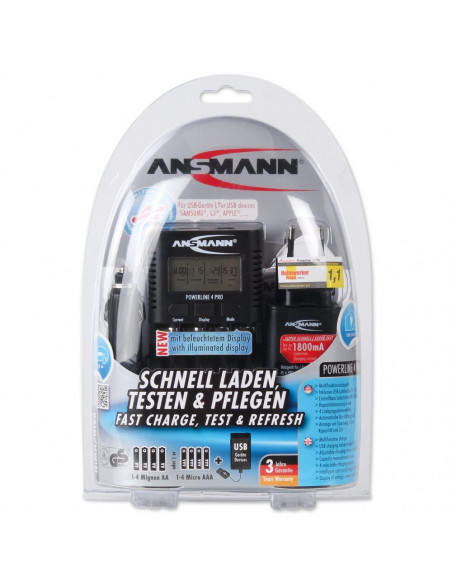 Compact field charger Ansmann Powerline 4 Pro LCD screen - For AA, AAA