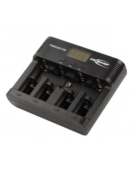 Chargeur universel Ansmann Powerline 5 PRO écran LCD - Pour batteries AA,AAA,D,C,9V, avec adaptateur pour véhicule