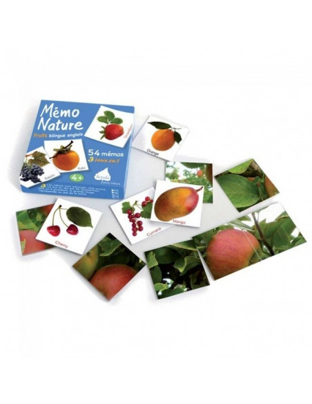 Jeu nature Betula - Mémo Nature fruits - Bilingue Anglais