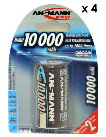 Lot de 4 accumulateurs / batterie LR20 (D) rechargeables Ansmann 10000 mAH NiMH