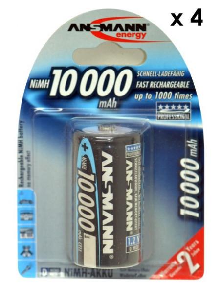 Lot de 4 accumulateurs / batterie LR20 (D) rechargeables Ansmann 10000 mAH NiMH