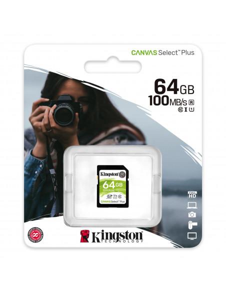 Carte mémoire SDXC Kingston 64 GB classe 10 - Taux de transfert jusqu'à 100 Mo/s