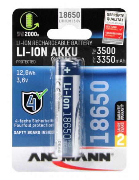 Batterie Ansmann 18650 li-ion 3500 mAh, rechargeable et protégée - 3.6V