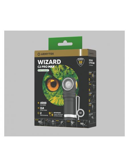 Lampe torche frontale Armytek Wizard C2 PRO MAX Magnet USB (White) / 4000 lumens - Accu 21700 5000 mAh inclus + chargeur USB
