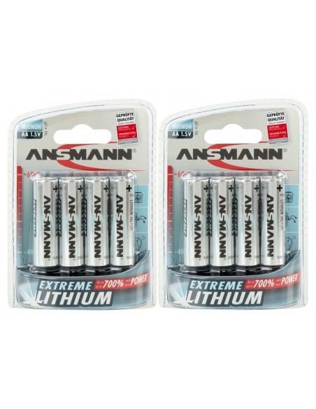 Lot de 8 piles lithium non rechargeables AA LR06 3000 mAh Ansmann
